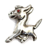 Mexican Sterling Silver Donkey Brooch, Repousse Sterling Silver Trotting Donkey, Red Stone Eye, Hallmarked Made in Mexico, 1940's