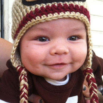 Crocheted San Francisco 49ers Football Helmet Baby Beanie/hat - MADE TO ORDER - Handmade by Me
