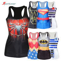 Sportlover Casual tank top women digital print batman/spiderman/superman 3d superhero sports vest woman fashion sleeveless shirt