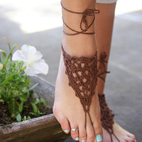 Brown barefoot sandals, Beach Sandals, Hippie shoes, Bohemian Foot Jewelry, Wire jewelry, Belly dance, Yoga, Anklet