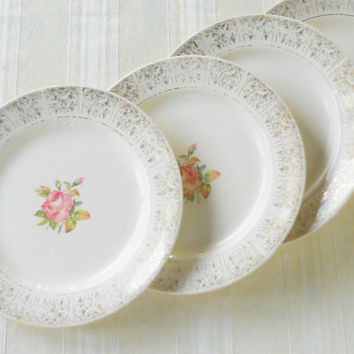 Antique Salem Dinner Plates, Set of 4, Cottage Style, Shabby Chic, Weddings, Tea Party