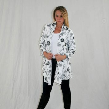 Embroidered Jacket with Drape Front