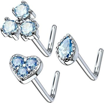 BodyJ4You 3PCS Set Nose Ring 20G L-Shape Bend Stud Aqua CZ Surgical Steel Nostril Body Piercing