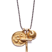 """FAITH"" Gold Om, Gold Cross and Wealth Nugget necklac for Men. (SOLD OUT)"