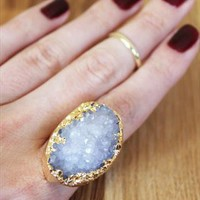 Adrie Blue Gold Dipped Druzy Crystal Ring from dixi