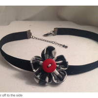 Choker/Japanese Kanzashi Flower/Velvet Ribbon Choker/Gingham or Polka Dot/Black Velvet Choker with fabric flower/Hand Stitched