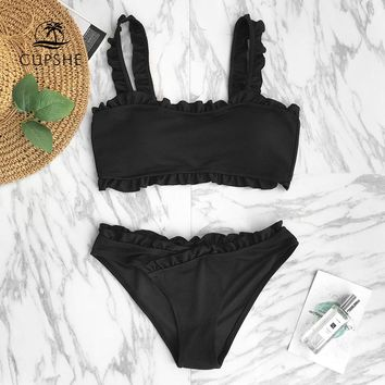 CUPSHE Black Solid Bikini Set Women Plain Ruffle Crop Top Thong Two Pieces Swimwear 2018 Girl Beach Bathing Suits Swimsuits