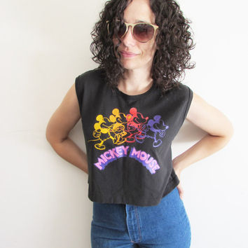 Vintage Black and Neon Disney Mickey Mouse Sleeveless Crop Top