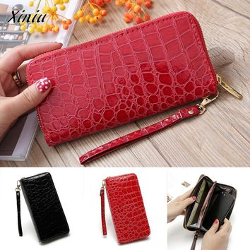 Xiniu Quality Women's Purse Money Bag Ladies Leather Clutch Stone Road Thin Wallet Long Coin Card Holder Totes Purse Phone Bag
