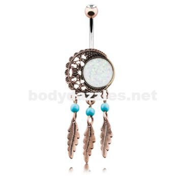 Vintage Boho Filigree Moon Dreamcatcher Opal Belly Button Ring Navel Ring 14ga