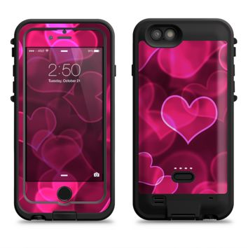 The Glowing Pink Outlined Hearts  iPhone 6/6s Plus LifeProof Fre POWER Case Skin Kit