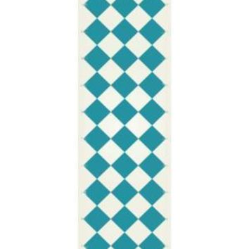 English Checker Design  Size Rug: 2ft x 6ft teal & white colors