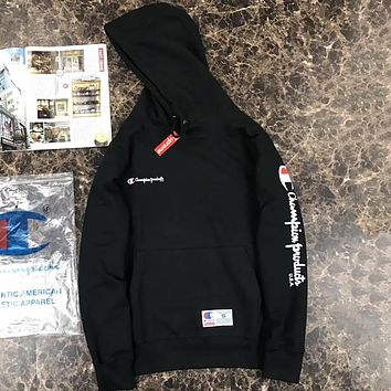 Supreme X Champion Fashion Edgy Logo Print Hooded Top Sweater Pullover
