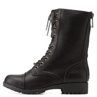 Black Bamboo Faux Fur-Lined Combat Boots by Bamboo at Charlotte Russe