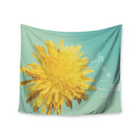 "Beth Engel ""You Are My Sunshine"" Teal Flower Wall Tapestry"