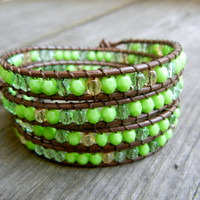 Beaded Leather Wrap Bracelet 4 Wrap with Lime Green Czech Glass Beads on Brown Leather Spring Summer Bracelet