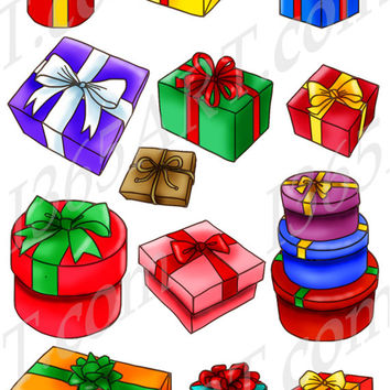 Merry Christmas Gift Boxes Clipart Pack Presents, Holiday Gifts, Wrapped Gifts, Ribbon, Digital Art, Scrapbooking, PNG & JPEG Commercial-Use