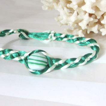 Green Friendship Bracelet Glass Bead in Shades of Bright and Light Green Woven Celtic Bar Pattern Button Closure and Stackable Friend Gift