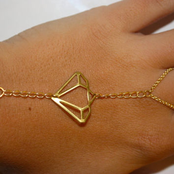 Gold Diamond Slave Bracelet, Hand Chain, Hand Jewelry, Ring to Wrist, Hippie
