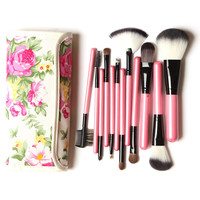 12 Pieces Professional Goat Hair Make up Brush Pony Synthetic Hair Makeup Tools
