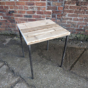 Industrial Chic Reclaimed 2-4 Seater Pedestal Table.Office Cafe Bar Steel & Wood Metal Hand Made
