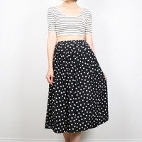 Vintage 80s Skirt Black and White Skirt Polka Dot Skirt High Waisted Skirt Midi Skirt Pleated Skirt Plus Size Secretary XL Extra Large XXL