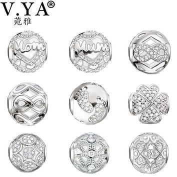 V YA Crystal Beads fit for Pandora Necklaces Bracelets  Mother's Father's Gifts Presents  DIY Charm for Women Men