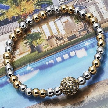 Gold Layered Women Fancy Bracelet, with White Micro Pave, by Folks Jewelry