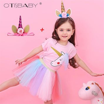 Girls Unicorn Clothing Set Toddler Girls Cotton T-shirts Kids Tulle Rainbow Tutu Skirts Infant Pink Cute Unicorn Shirt Pony Suit