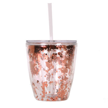 Slant Collections - 10 Oz. Double Wall DOF - Rose Gold Confetti