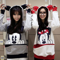 L625 Women Girl Bow Mickey Minnie Teddy Panda Bunny Bear Hoody Shirt Top Sweater