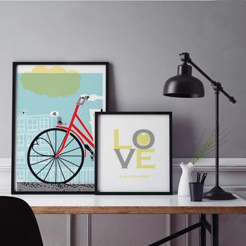 SURE LIFE Love is All You Need Bicycle Poster Canvas Paintings Print Nordic Wall Art Picture for Kids Bedroom Home Decor