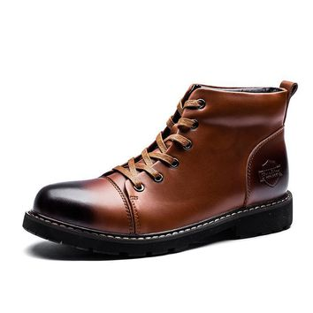 Round Toe Cow Leather Lace Up Snow Boots