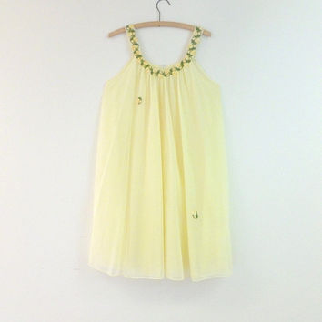 d5cb6b3ce73 Womens Vintage Sheer Yellow Nightgown 1950s Double Layer Sheer Nylon with  Yellow Roses Embroidered Collar Small