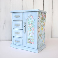 Blue Shabby Chic Jewelry Box, Large Vintage Wood Jewelry Cabinet, Tall Jewelry Chest, Hand Painted Upcycled Vintage  Jewelry Storage
