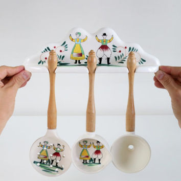 Vintage Ceramic Handpainted Funnel, Ladle And Strainer Spoon With Wood Handles Hanging Set With Folk Art / Kitchen Utensils / Holiday Gifts
