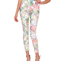 That's The One Skinny Pants - White/Floral