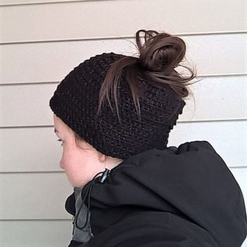 Messy bun hat. Woolly beanie hat. Ladies ponytail hat. Black beanie hat with metallic sparkles. Made to order. Free shipping.