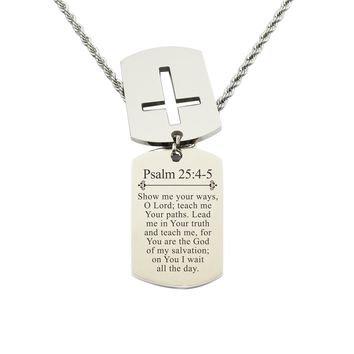 Mens Scripture Double Tag Necklace - Psalm 25:4-5