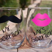 Personalized Mr. and Mrs. Last Name Stemless Wine Glasses - Customized with Lips and Mustache - Perfect as a Gift to a Bride and Groom