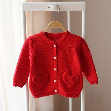 2016 Autumn Spring cotton cardigan girls cardigan children outwear kids baby sweater hollow back with bows 3 colors