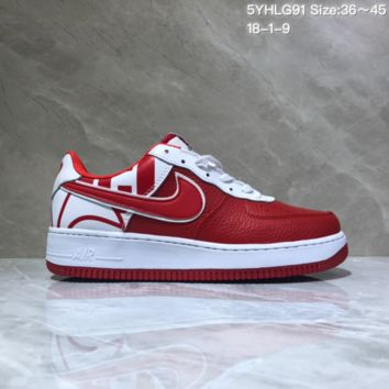 KUYOU N950 Nike Air Force 1 AF1 Low Fashion Urban Preppy Casual Skate Shoes White Red