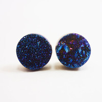 Cobalt Blue Flame Druzy Stud Earrings n53 by AstralEYE on Etsy
