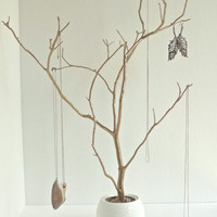 Jewelry Holder Tree Gold Organizer painted necklace hanger bedroom decor for her