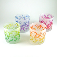 Low Ball Tumblers - Chaos Weave - Set of 4 - Frosted - Custom Painted Glassware