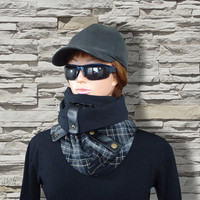 Gray Black Brown White Men Women Unisex Wool Scarf Cozy Cowl with Snaps and Natural Leather by Elena Joliefleur