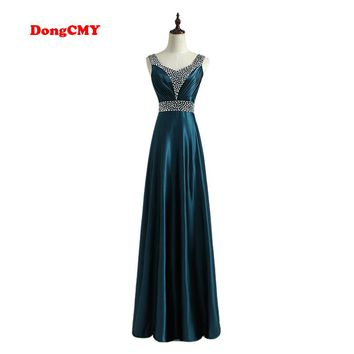 DongCMY 2018 Formal long Evening Dress Vestido de Festa Longo V-Neck Fashion Robe de soiree Plus size Party Gown