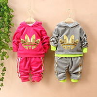 New Chidren Kids Girls Clothes Set Autumn Winter 2 Piece Sets Hooded Coat Suits Fall Cotton Baby Boy Clothes warm velvet