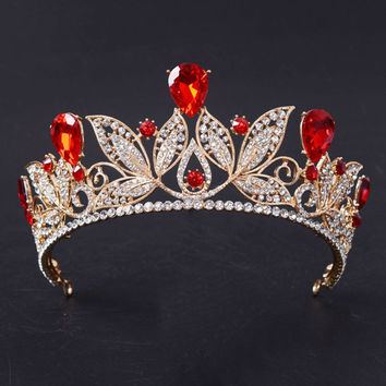 Romantic Wedding Bridal Hair Jewelry Baroque Golden Crown Tiara Gold Color Red Green Blue Crystal Rhinestone Hairwear HG215