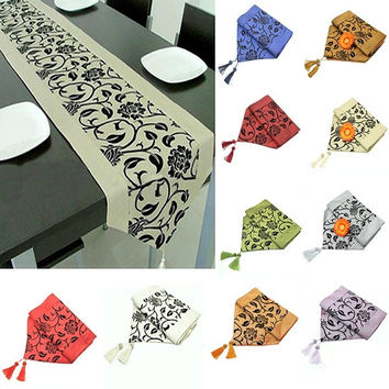 "78""X12"" Wedding Decor Raised Flower Blossom Flocked Damask Table Runner Cloth = 1932891140"